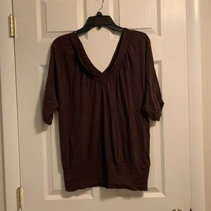 Brown flowy short sleeve v-neck top